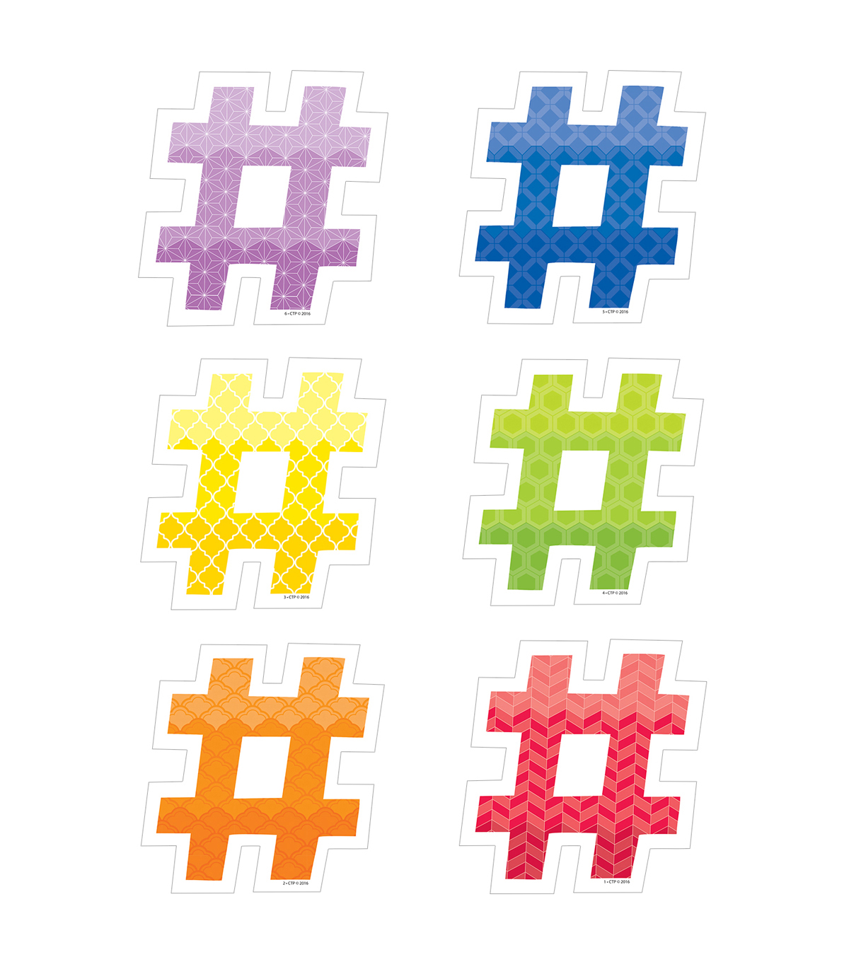 Creative Teaching Press Painted Palette Hashtags 6\u0022, 36/Pack, 3 Packs