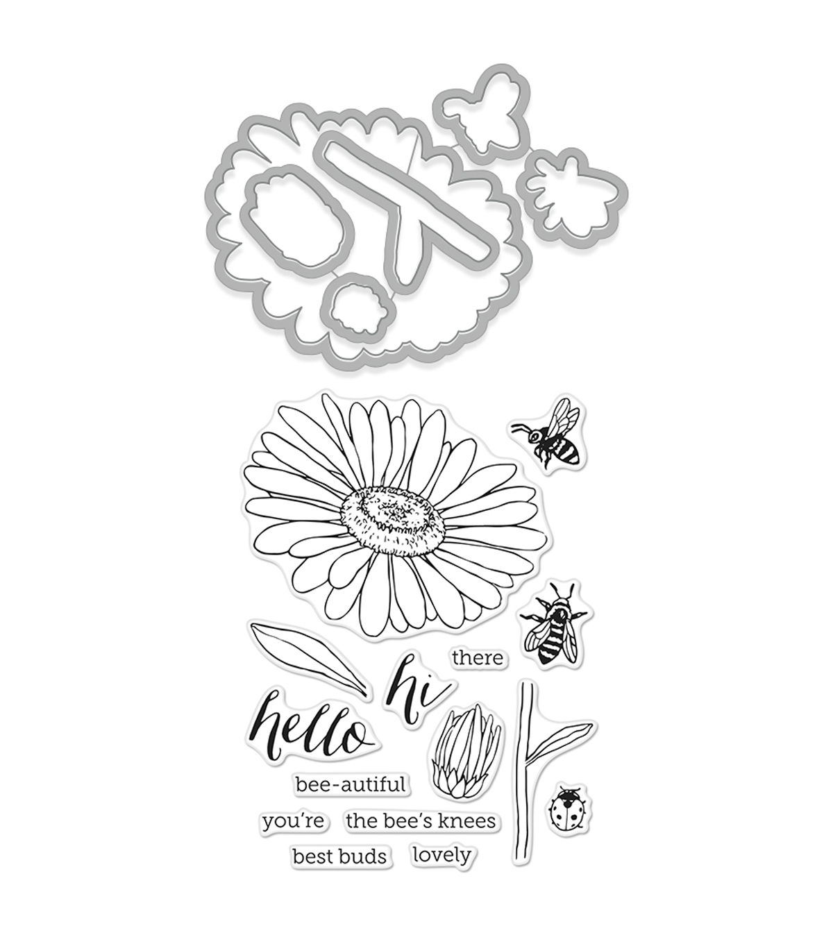 Hero Arts Stamp & Cut Clear Stamps with Dies-Daisy & Bugs