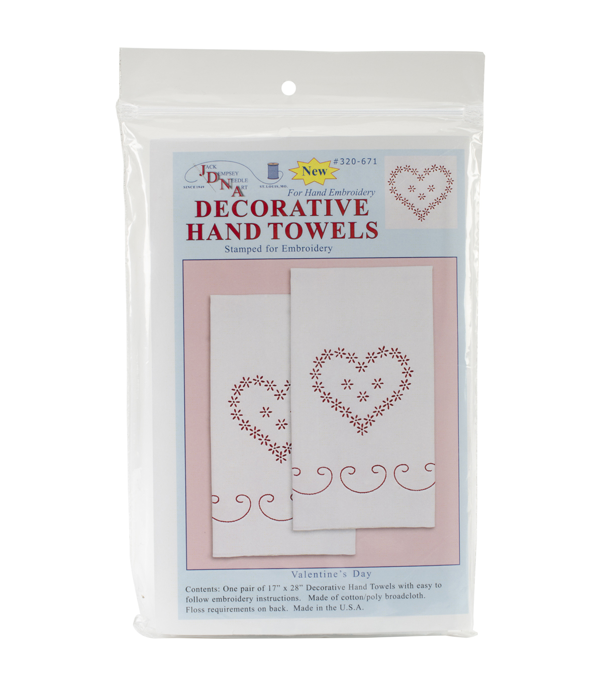 Jack Dempsey Stamped Decorative Hand Towel Valentine\u0027s Day White