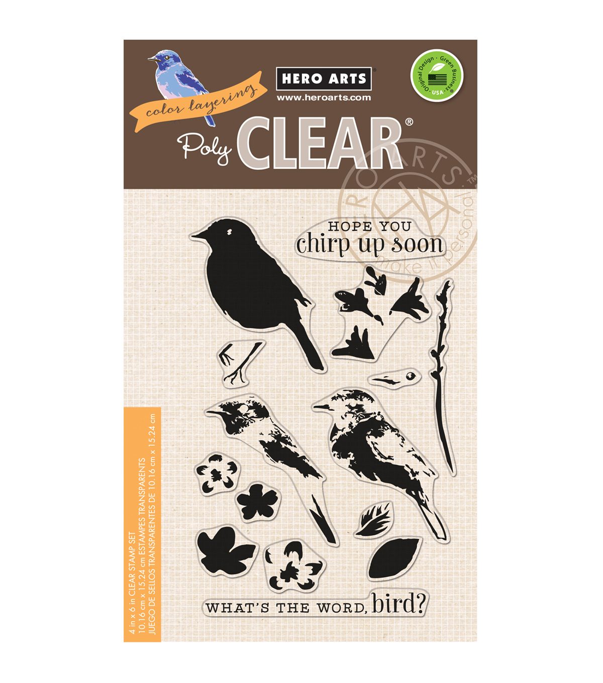 Hero Arts Color Layering 4\u0027\u0027x6\u0027\u0027 Clear Stamps-Bird & Branch