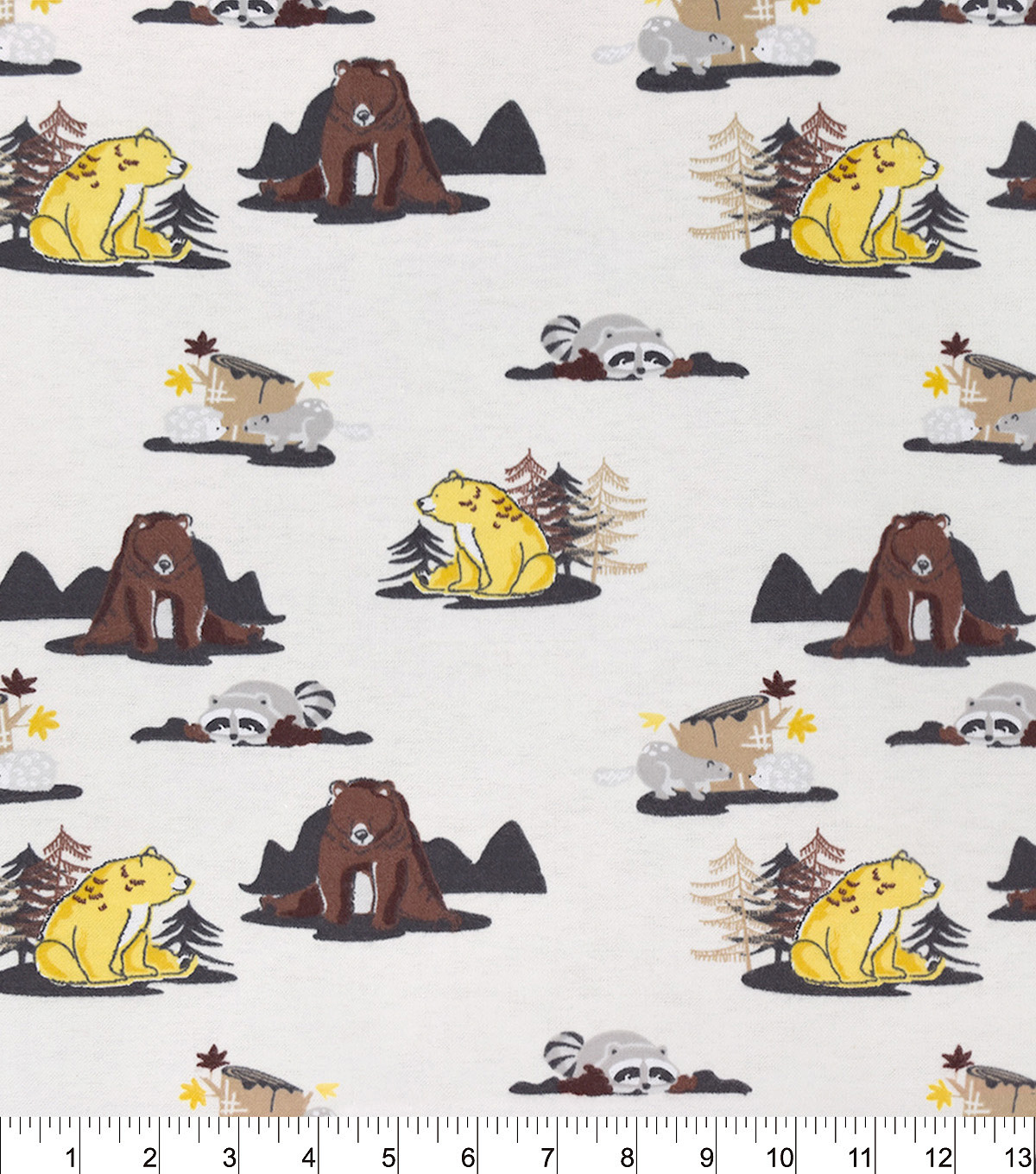 Snuggle Flannel Fabric -Woodland Buddies Cream