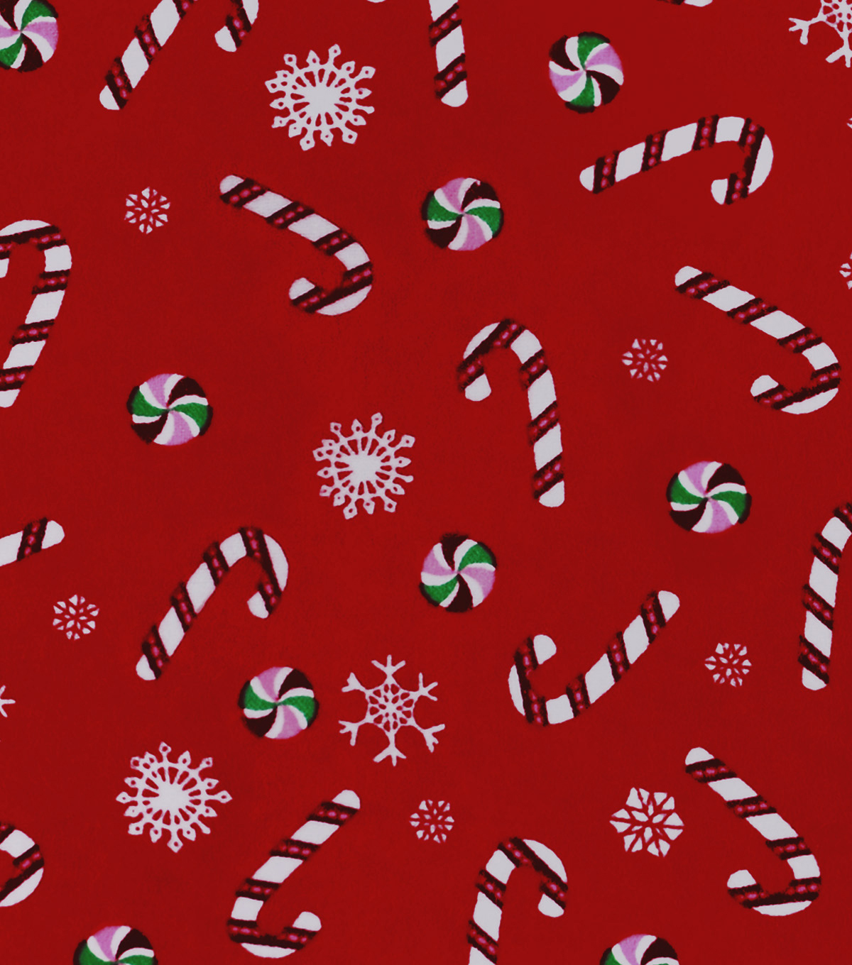 Snuggle Flannel Fabric 42\u0027\u0027-Candy Canes & Mints