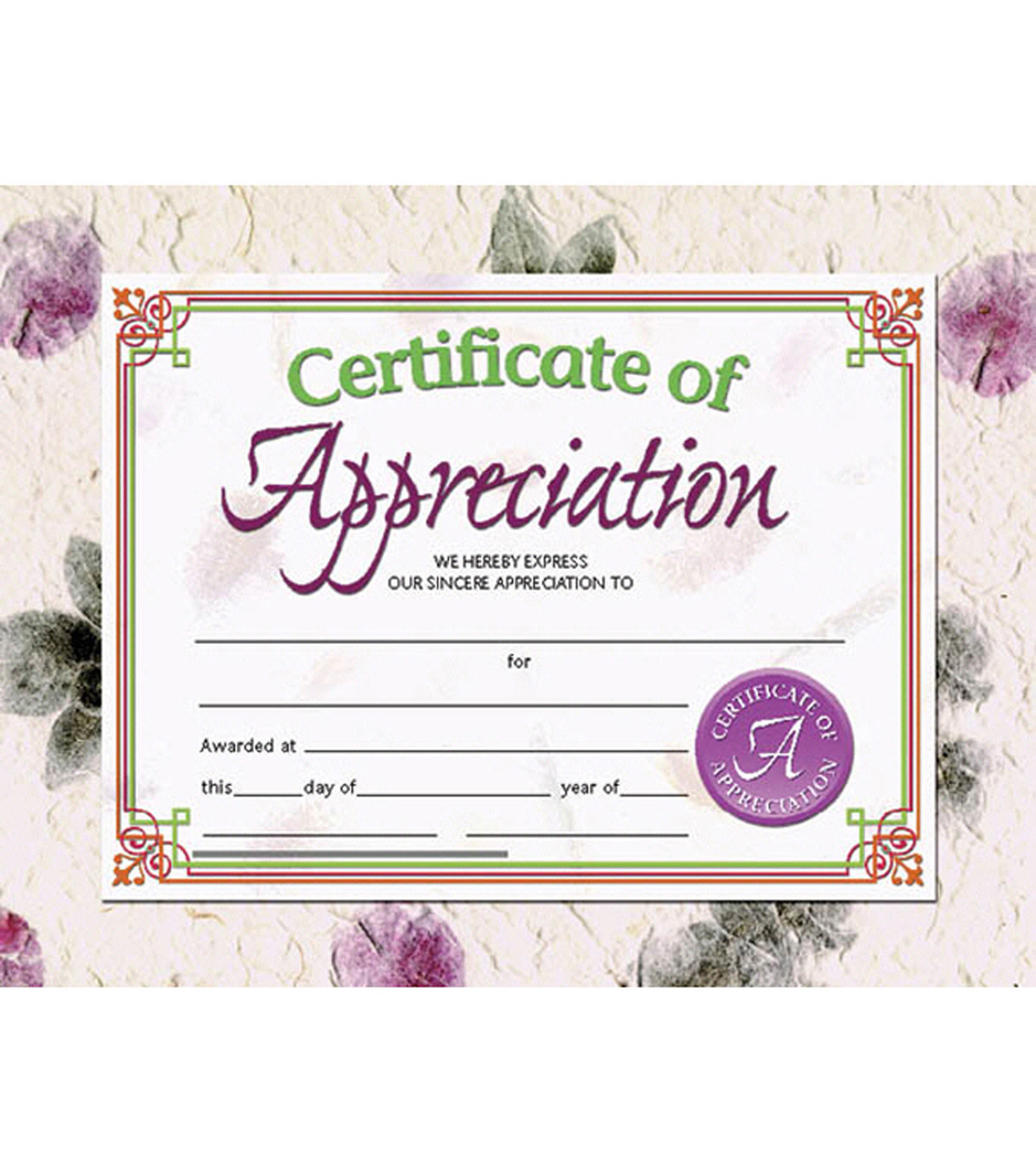 Hayes Certificate of Appreciation, 30 Per Pack, 6 Packs