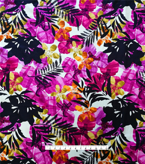 Cotton Shirting Tropical Fabric -Purple Passion Floral