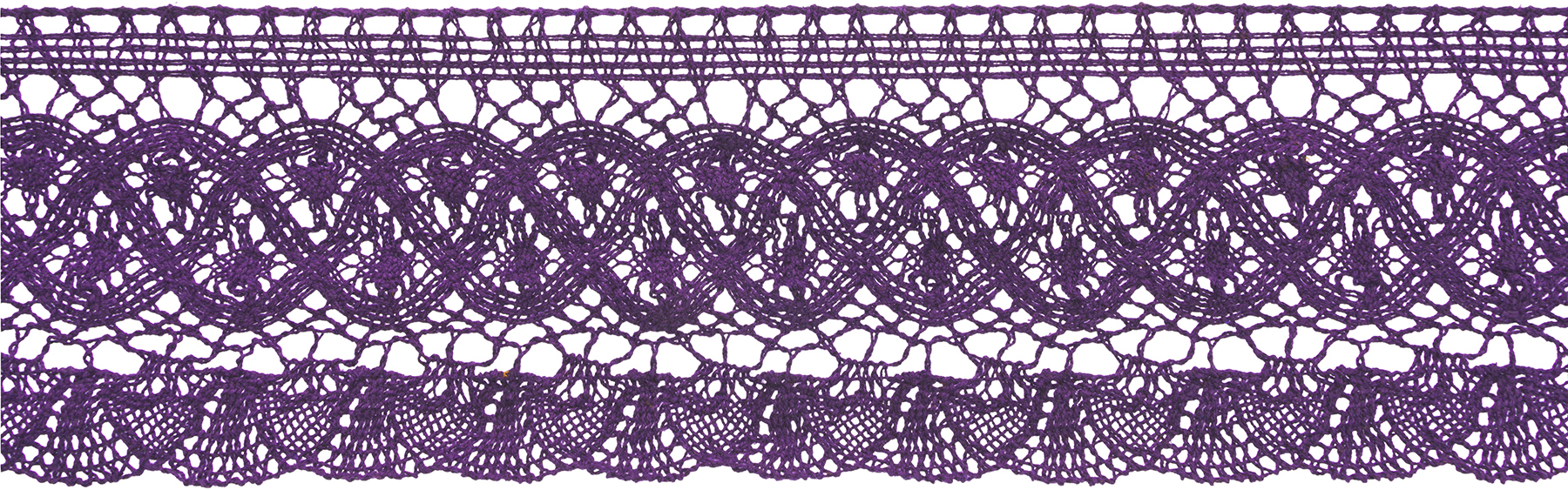 Wrights Large Fan Cluny Lace Trim 3.5\u0027\u0027x12 yds-Plum