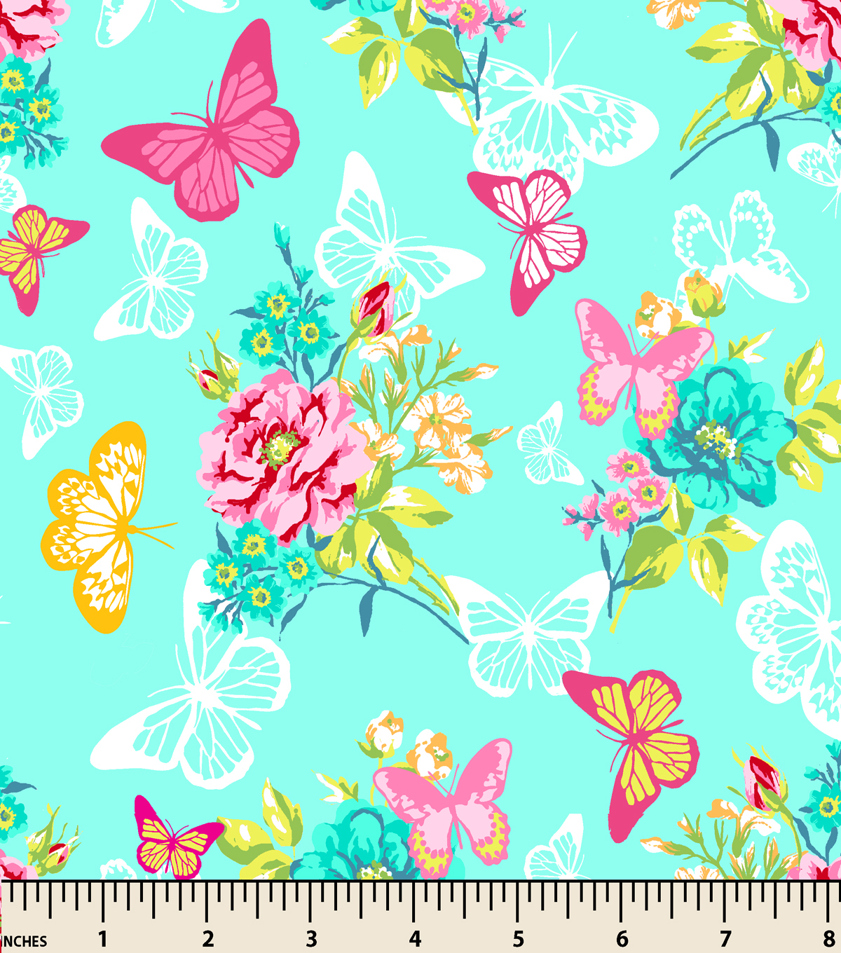 Snuggle Flannel Fabric -Butterfly Lace Garden Teal