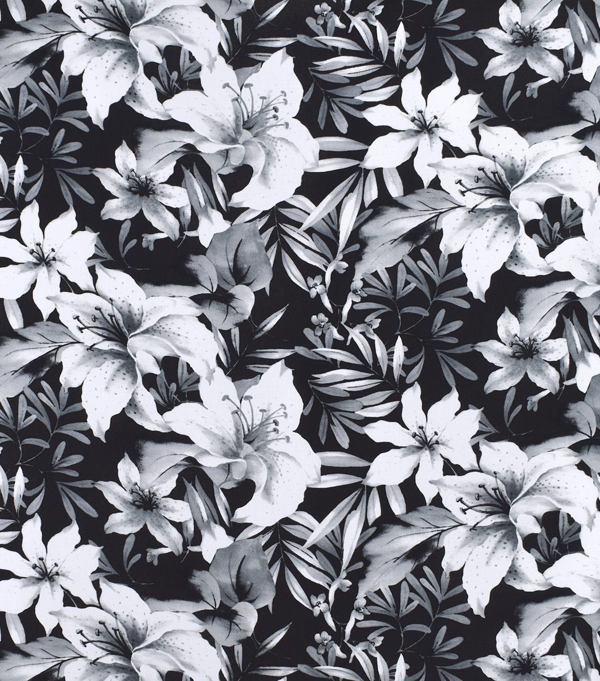 Silky print rayon fabric 53 white flowers on black joann silky print rayon fabric 53u0027u0027 white flowers on black mightylinksfo