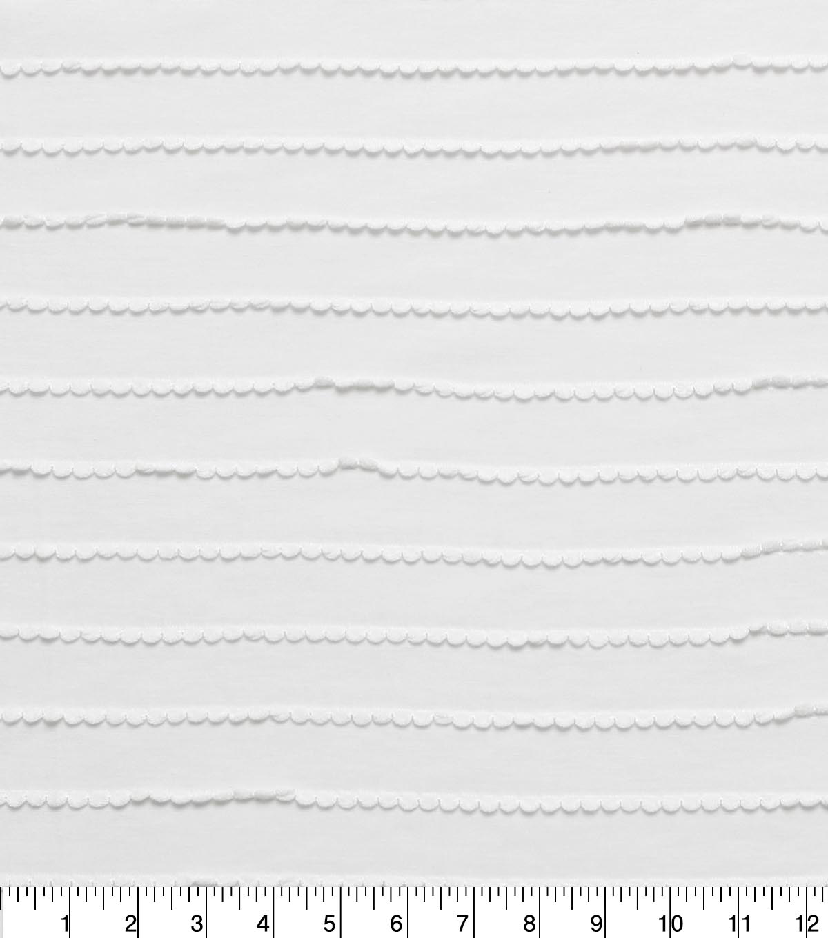 Doodles Polyester Rayon Fabric 57\u0022-White Scallop
