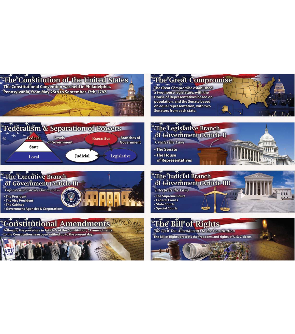 The Constitution of the United States Mini Bulletin Board Set Grade 4-8