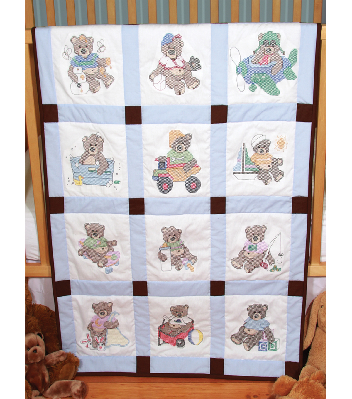 Fairway Stamped Baby Quilt Blocks Boy Bears