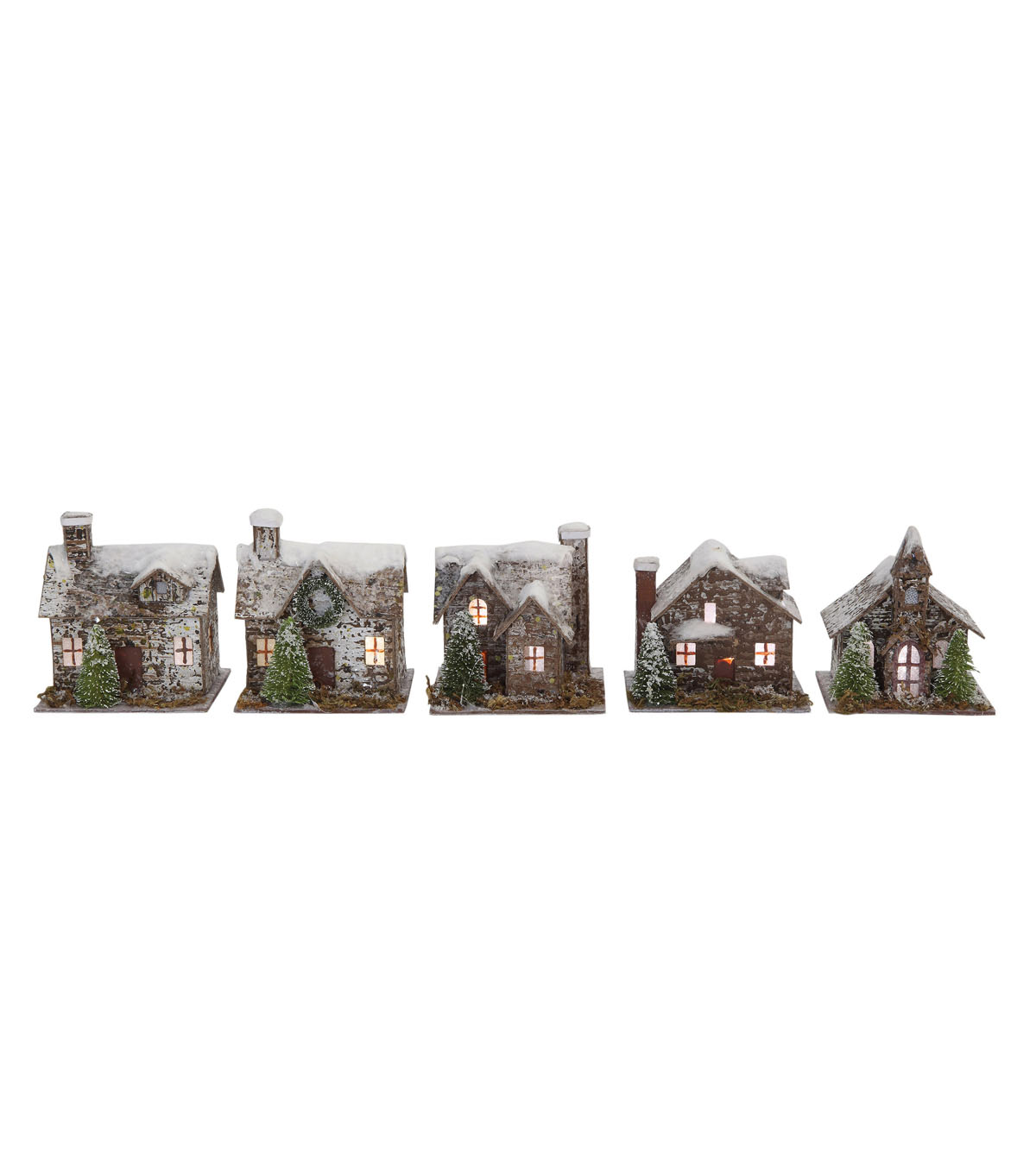 Christmas 5 pk Paper & Birch Bark Village with LED Lights