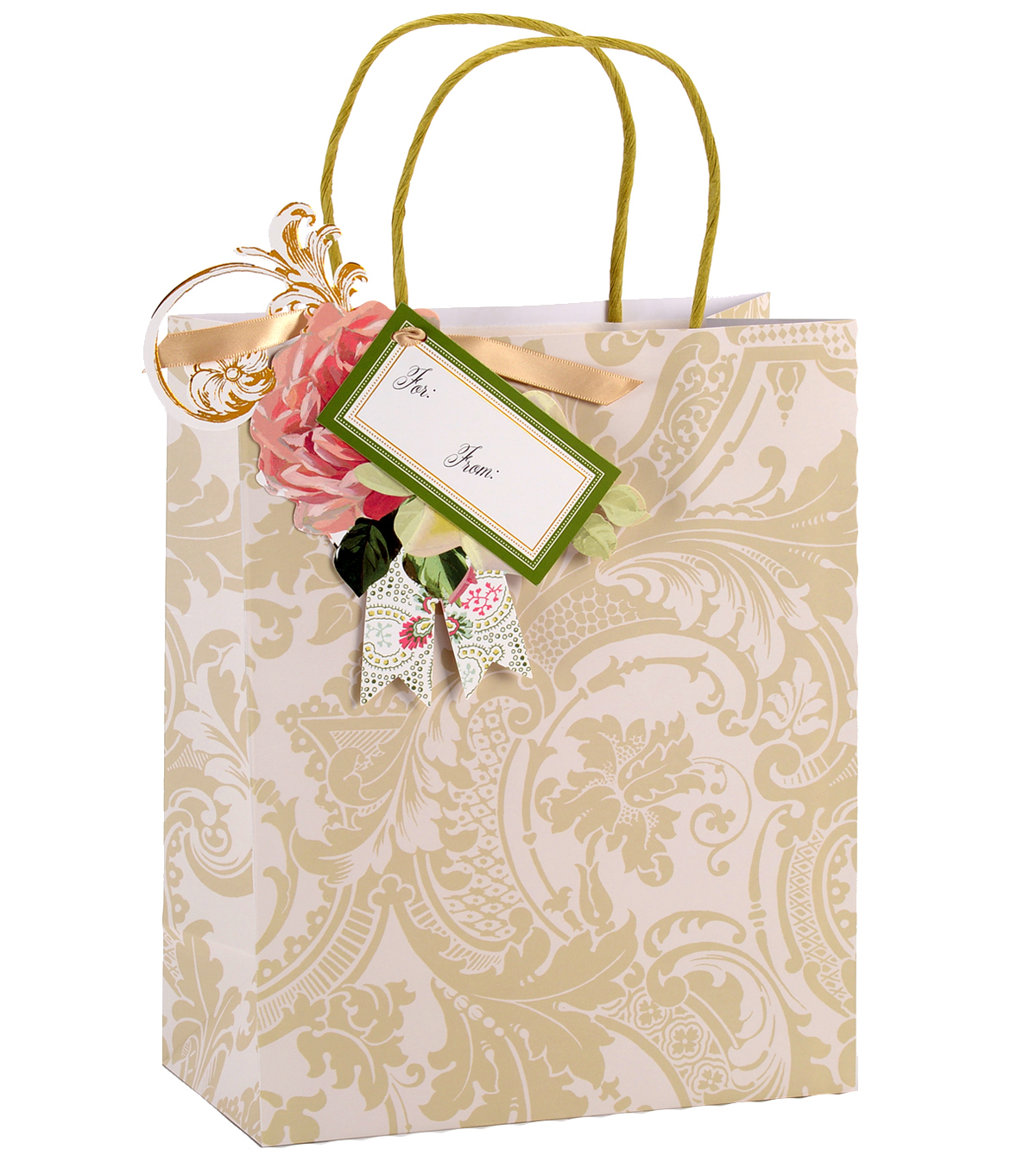 Anna Griffin Ivory Damask Cub Gift Bag 4 Count