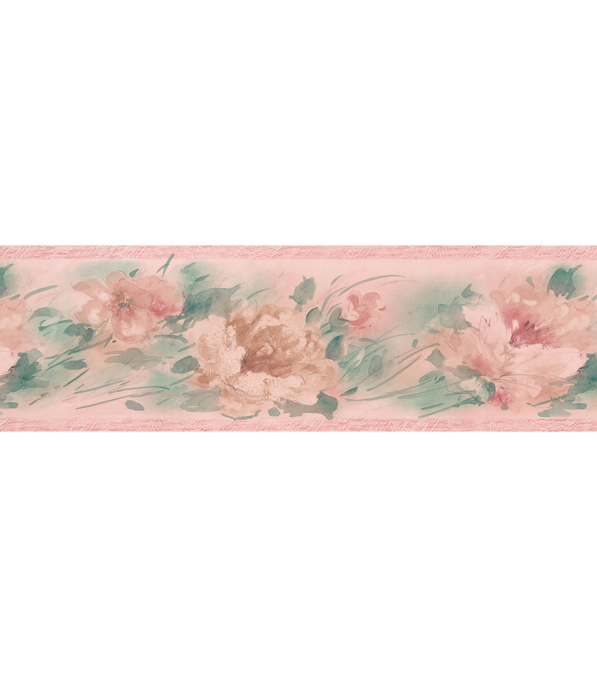 Watercolor Floral   Wallpaper Border, Pink Sample