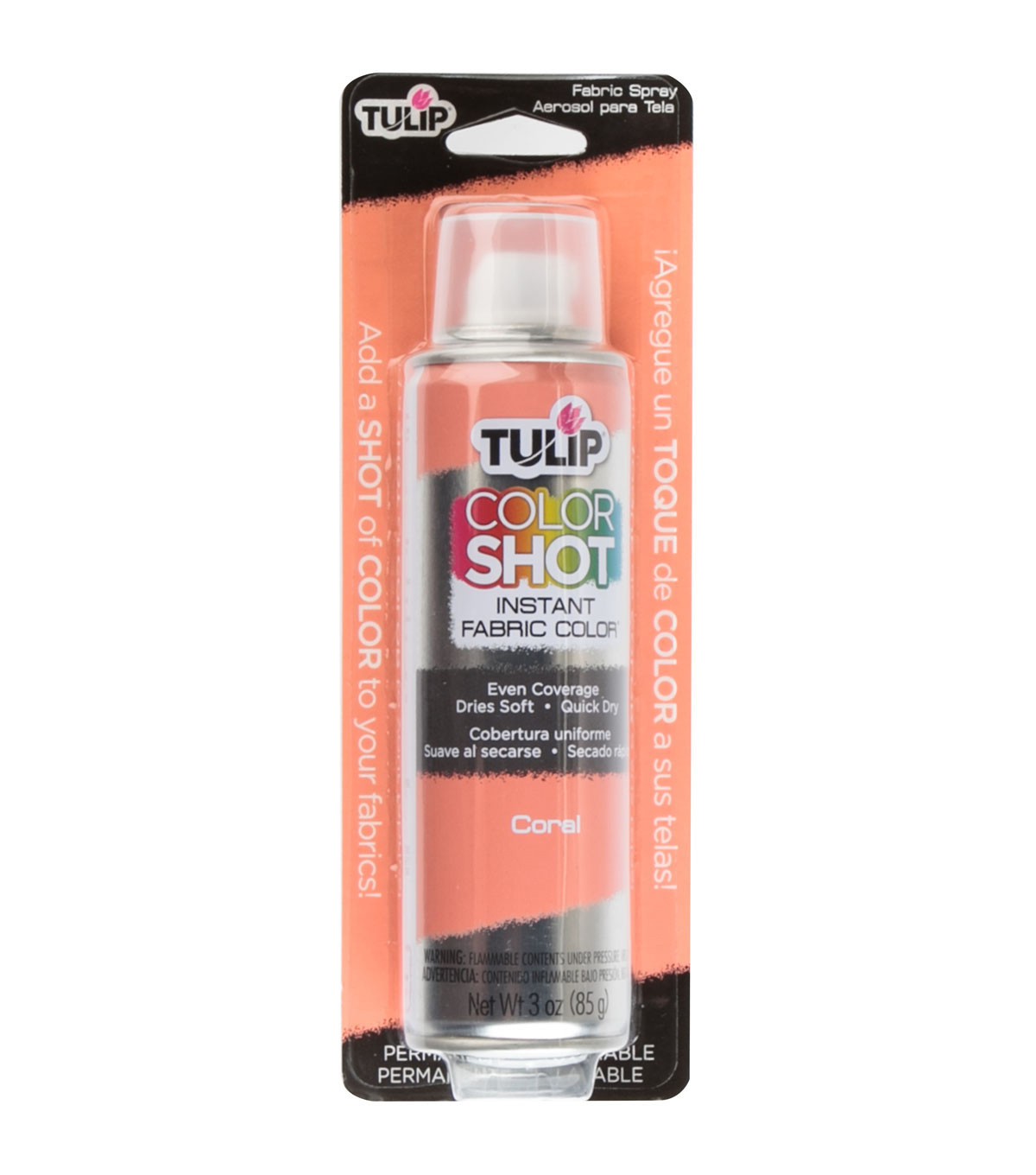 Tulip ColorShot Instant Fabric Color Spray 3oz, Coral