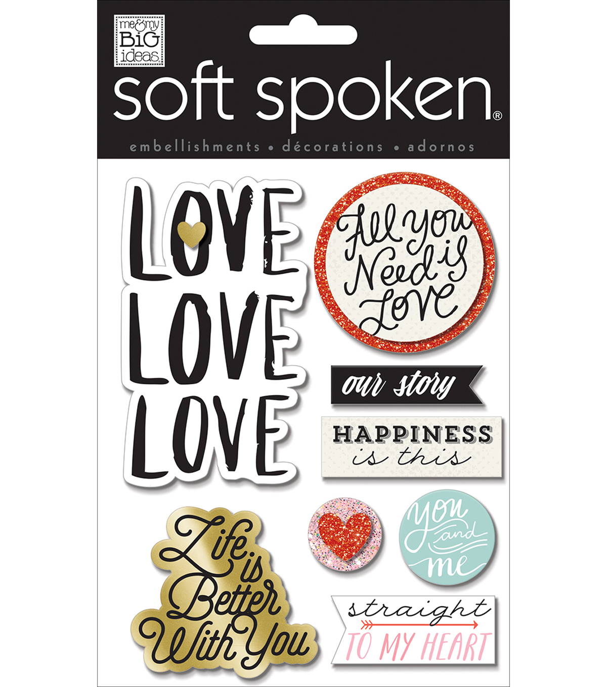 Soft Spoken Themed Embellishments-Love Love Love