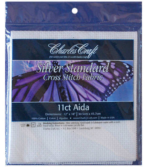 Charles Craft Silver Label Aida 11 Count 12\u0022X18\u0022-White