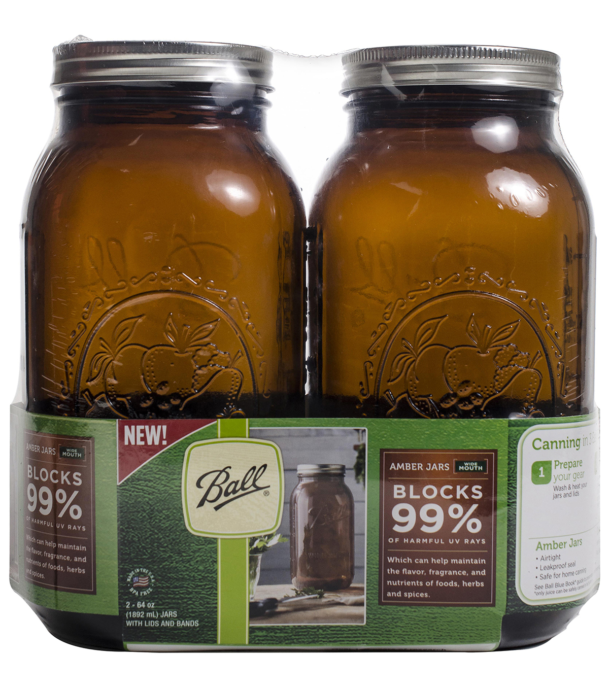 Ball Wide Mouth Canning Jars 2pk-1/2 Gallon Elite Color Series Amber