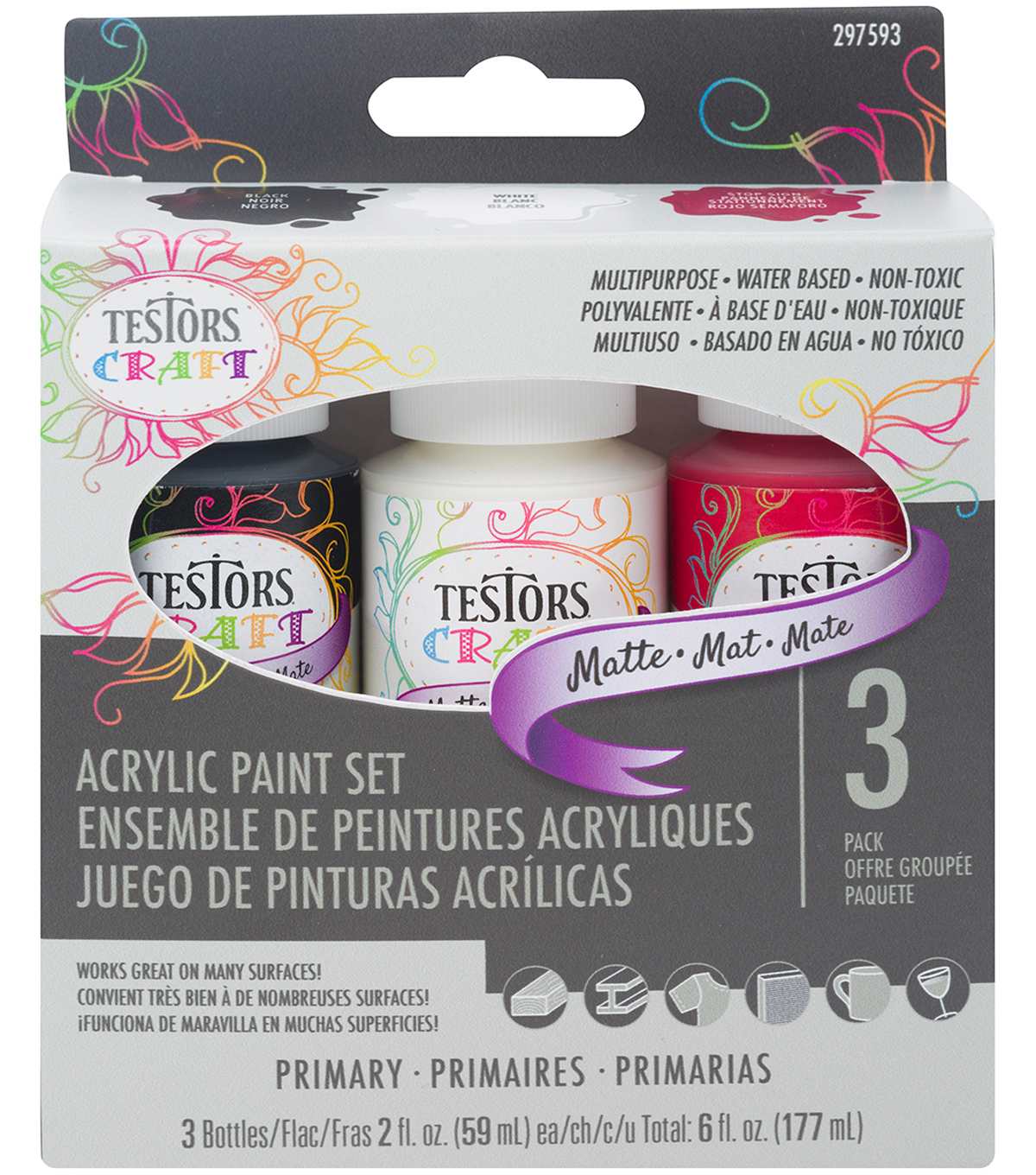 Testors 3 pk Craft Acrylic Paint Bottles