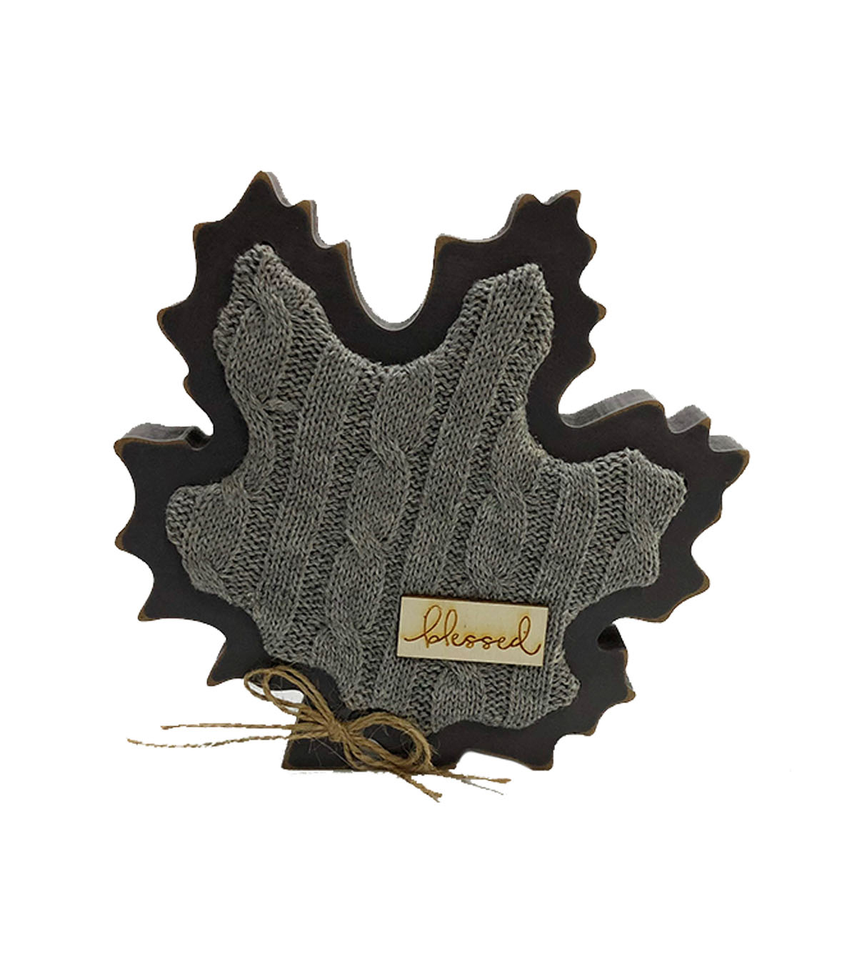 Simply Autumn Sweater Leaf Word Block-Blessed on Gray