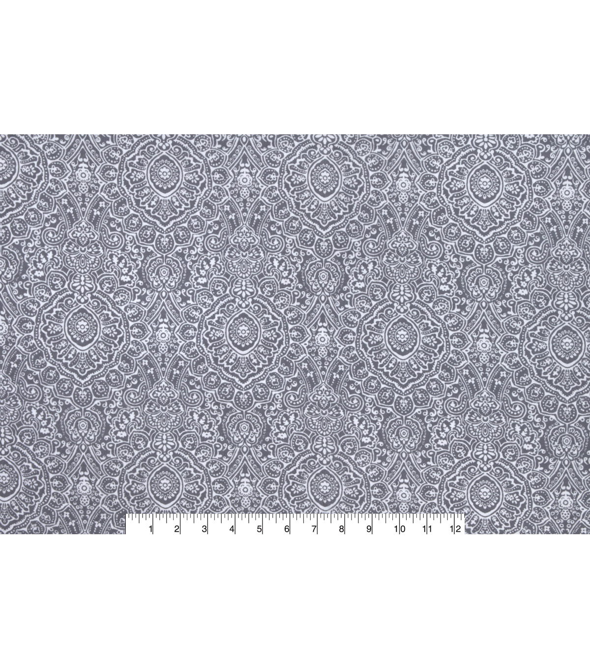 Snuggle Flannel Fabric -Grey Ink Stamp Print