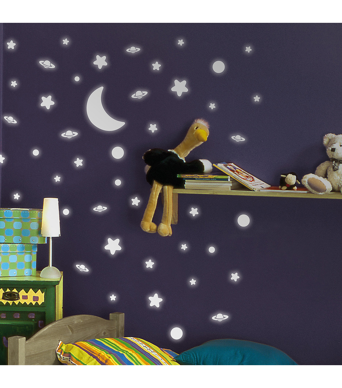 Home Decor Moon and Stars Wall Decal, 120 Piece Set