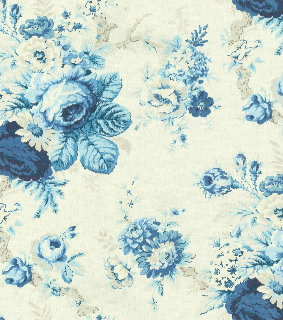 Waverly Upholstery Fabric 54\u0022-Sanctuary Rose/Cornflower