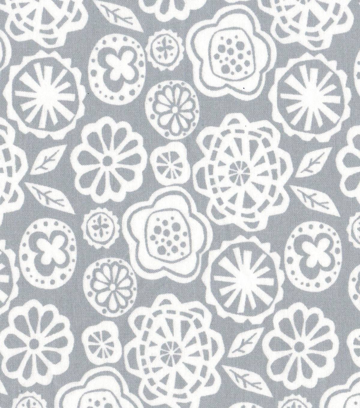 Quilter\u0027s Showcase Fabric 43\u0027\u0027-White Floral on Gray