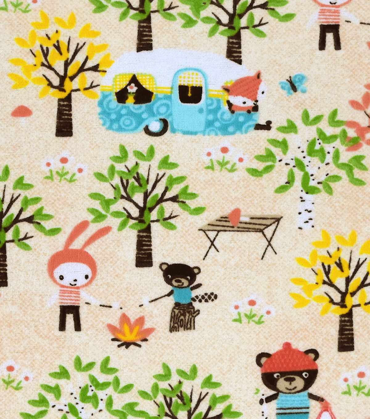 Snuggle Flannel Fabric -Camping Fun Animals