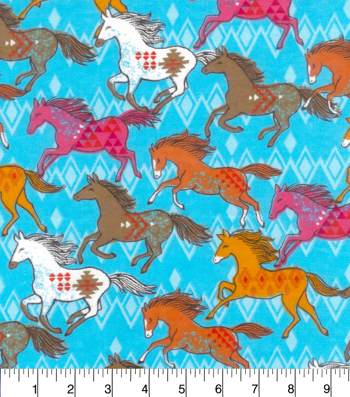 Snuggle Flannel Fabric 42\u0022-Colorful Running Horses