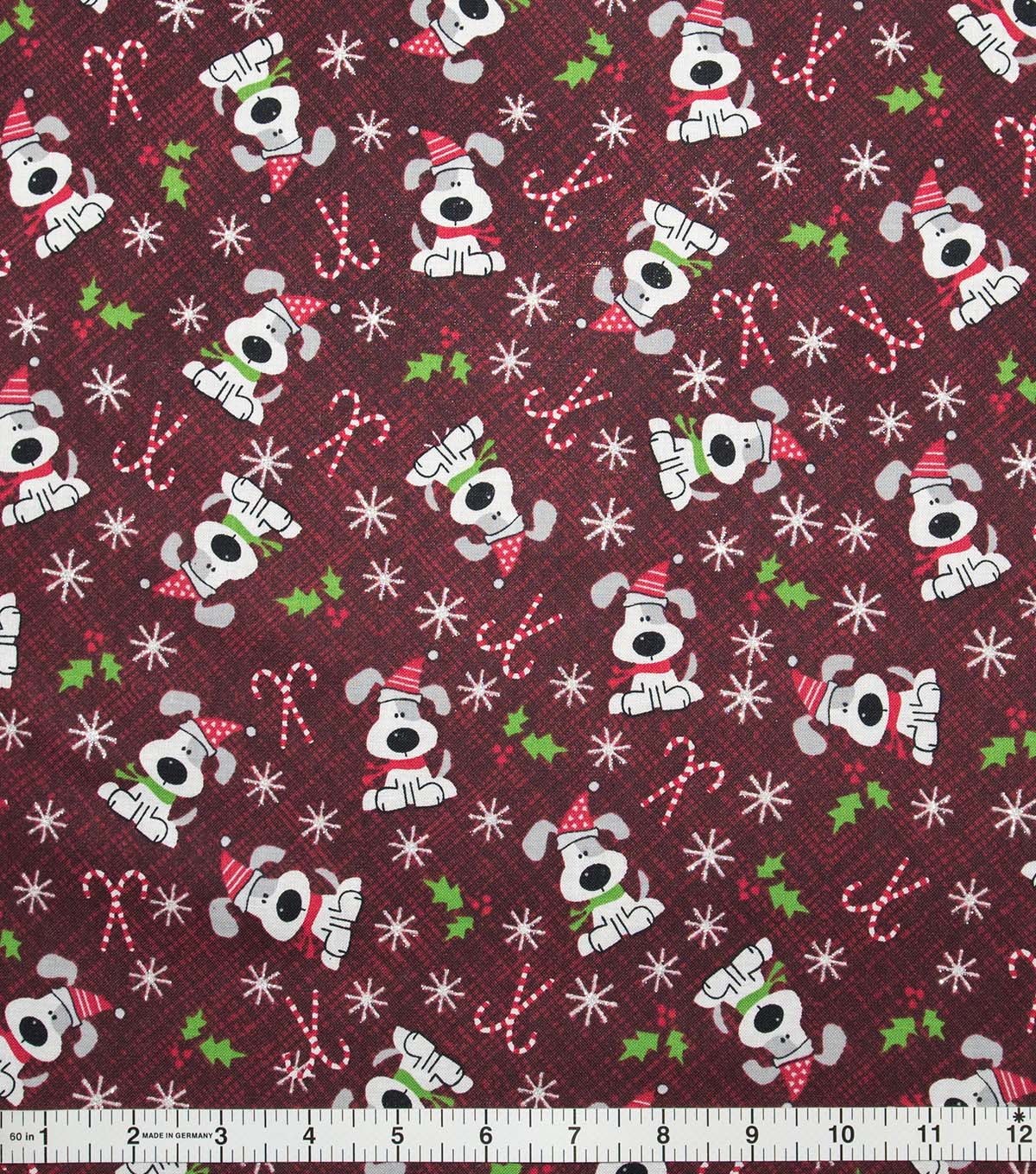Christmas Cotton Fabric-I Woof You Holiday Red Glitter