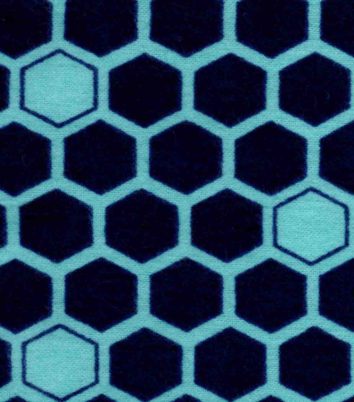 Snuggle Flannel Fabric -Blue Depths Honeycomb