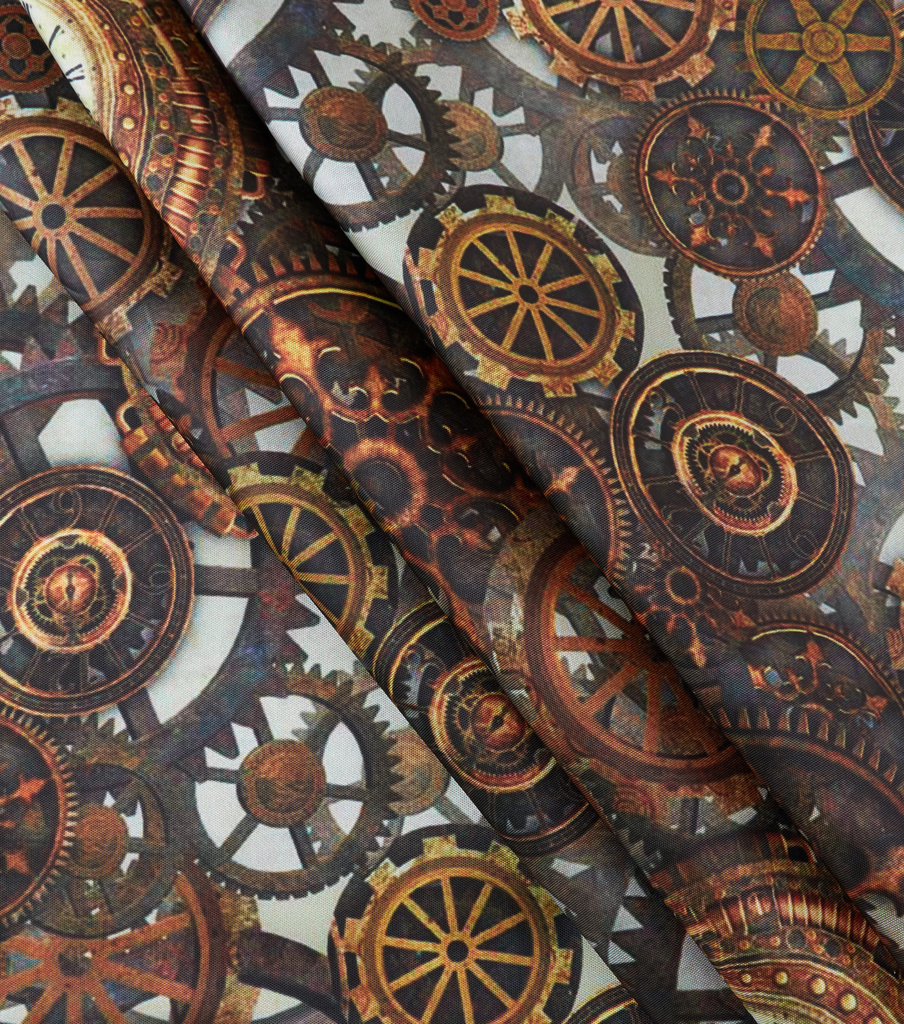The Witching Hour Satin Fabric 59\u0022-Gear Print