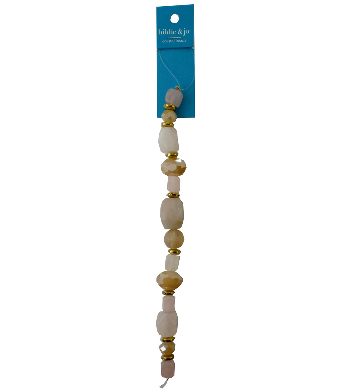 hildie & jo 7\u0027\u0027 Beads Strand with Gold Spacer Beads-Ivory & Tan