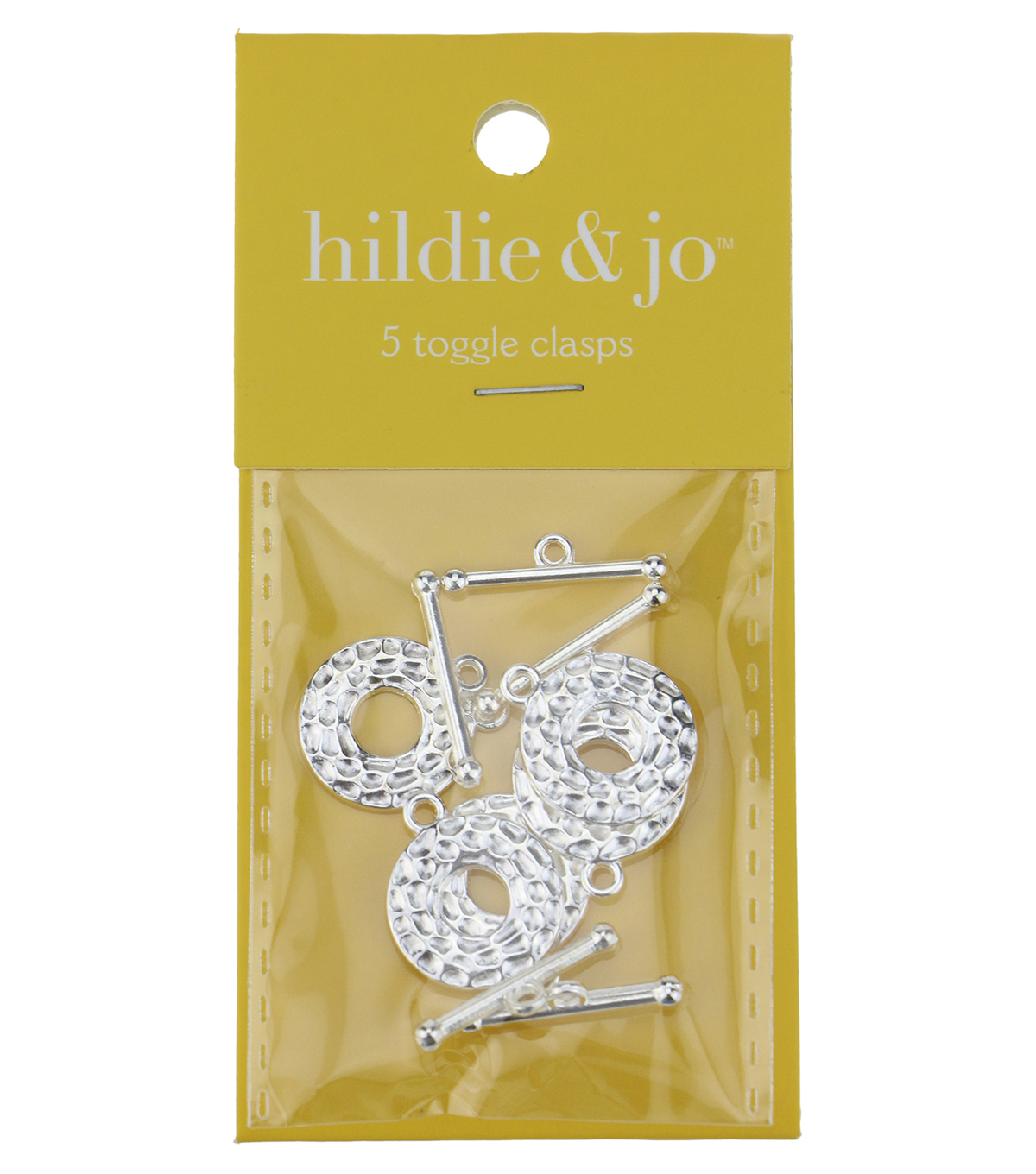 hildie & jo 5 Pack Textured Shiny Silver Toggle Clasps