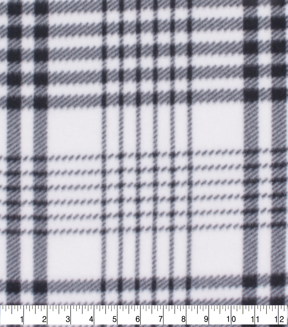 Blizzard Fleece Fabric-White & Black Plaid