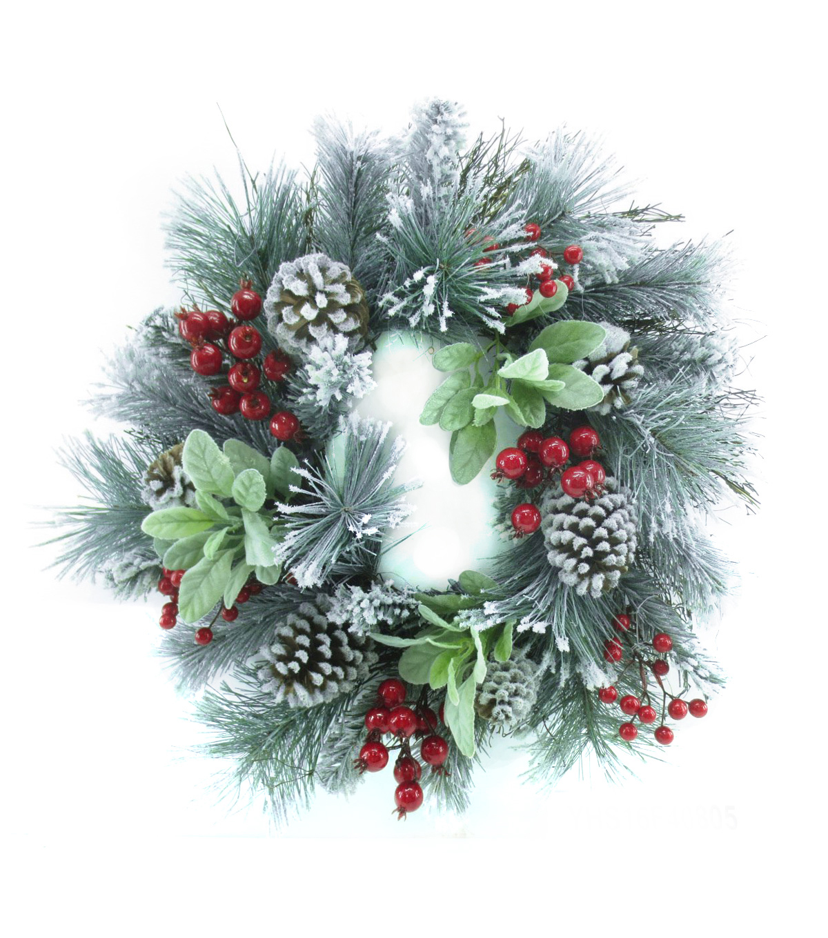 Blooming Holiday Christmas 23\u0027\u0027 Frosted Pine, Pinecone & Berry Wreath