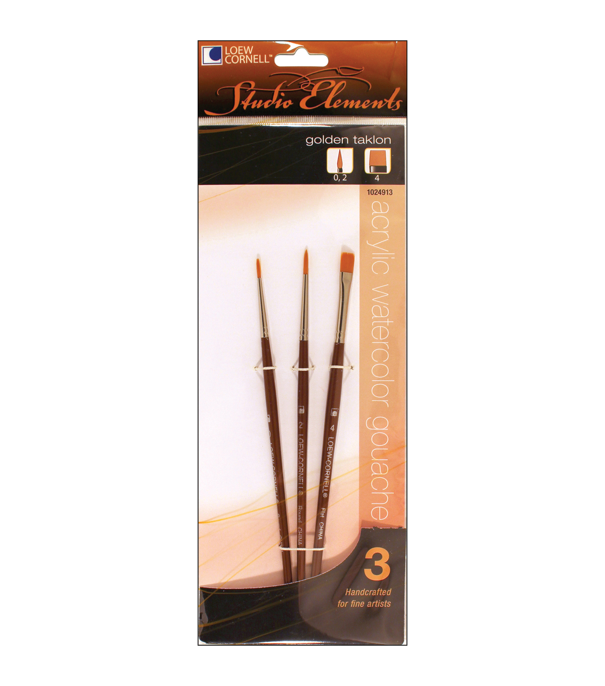 Loew-Cornell Studio Elements Round & Flat Golden Taklon Brushes
