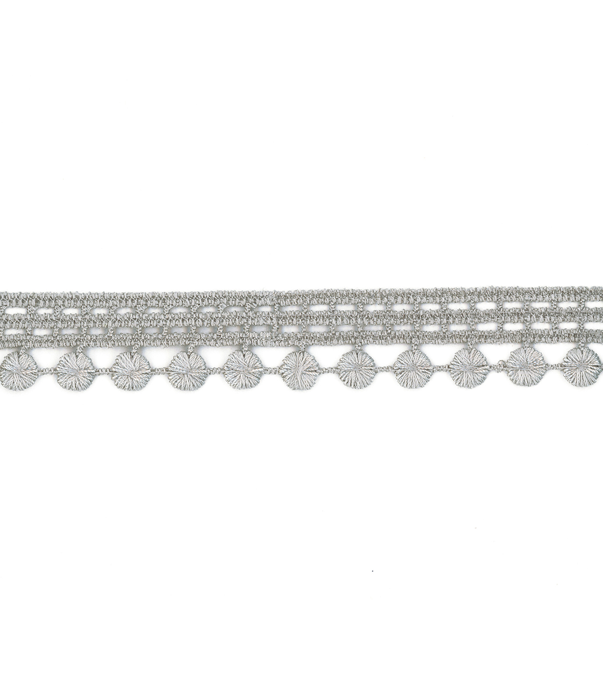 Simplicity Trims-1\u0022 Flat Dot Grey 6Ft