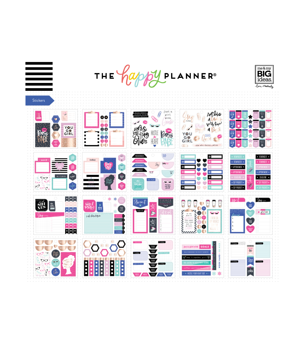 Me My Big Ideas Coordinated Happy Planner Accessory Pack Boss Babe