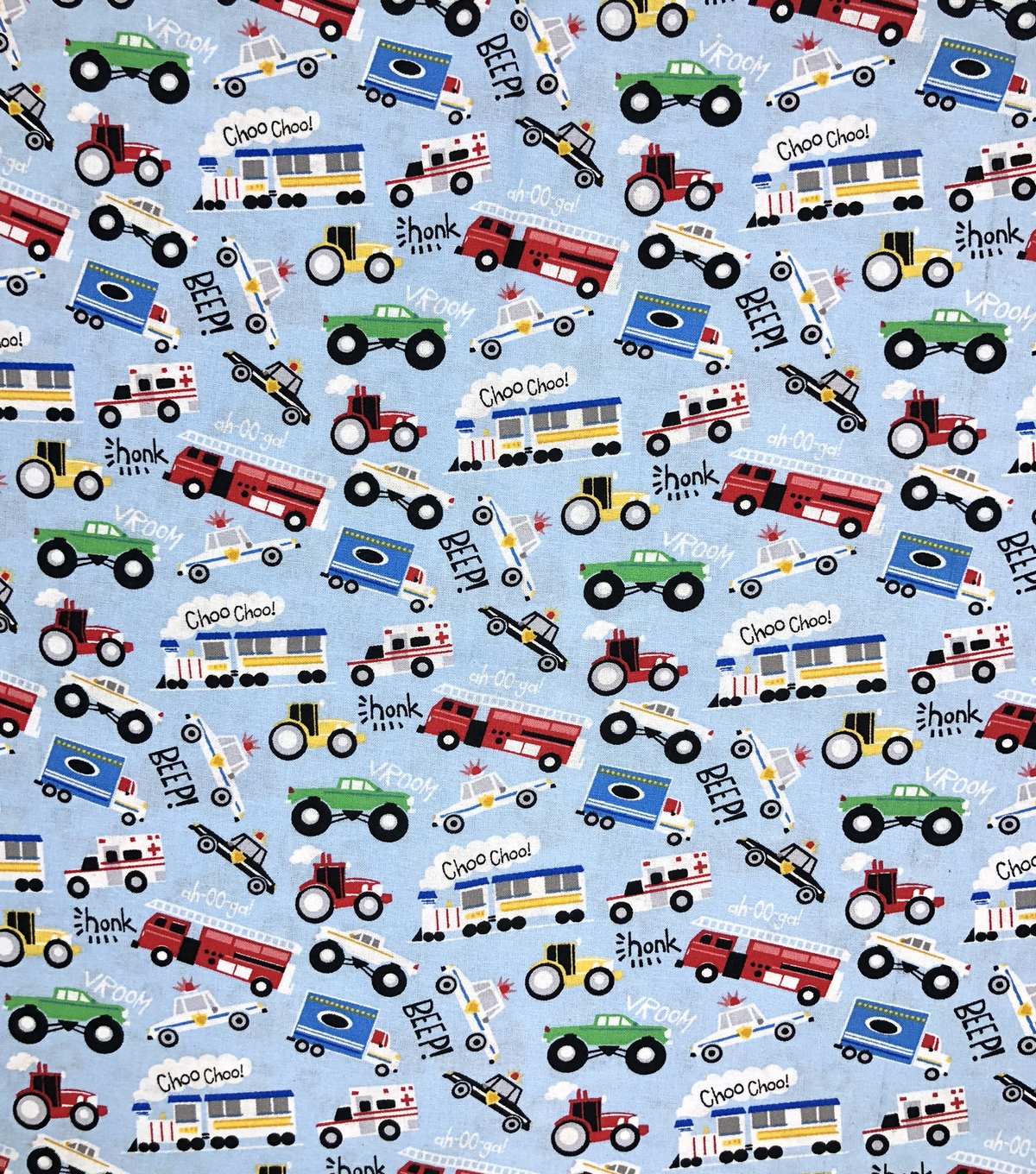 Novelty Cotton Fabric 43\u0022-Beep Honk Vroom