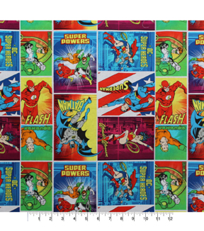 DC Comics Cotton Fabric -Heroes in Action
