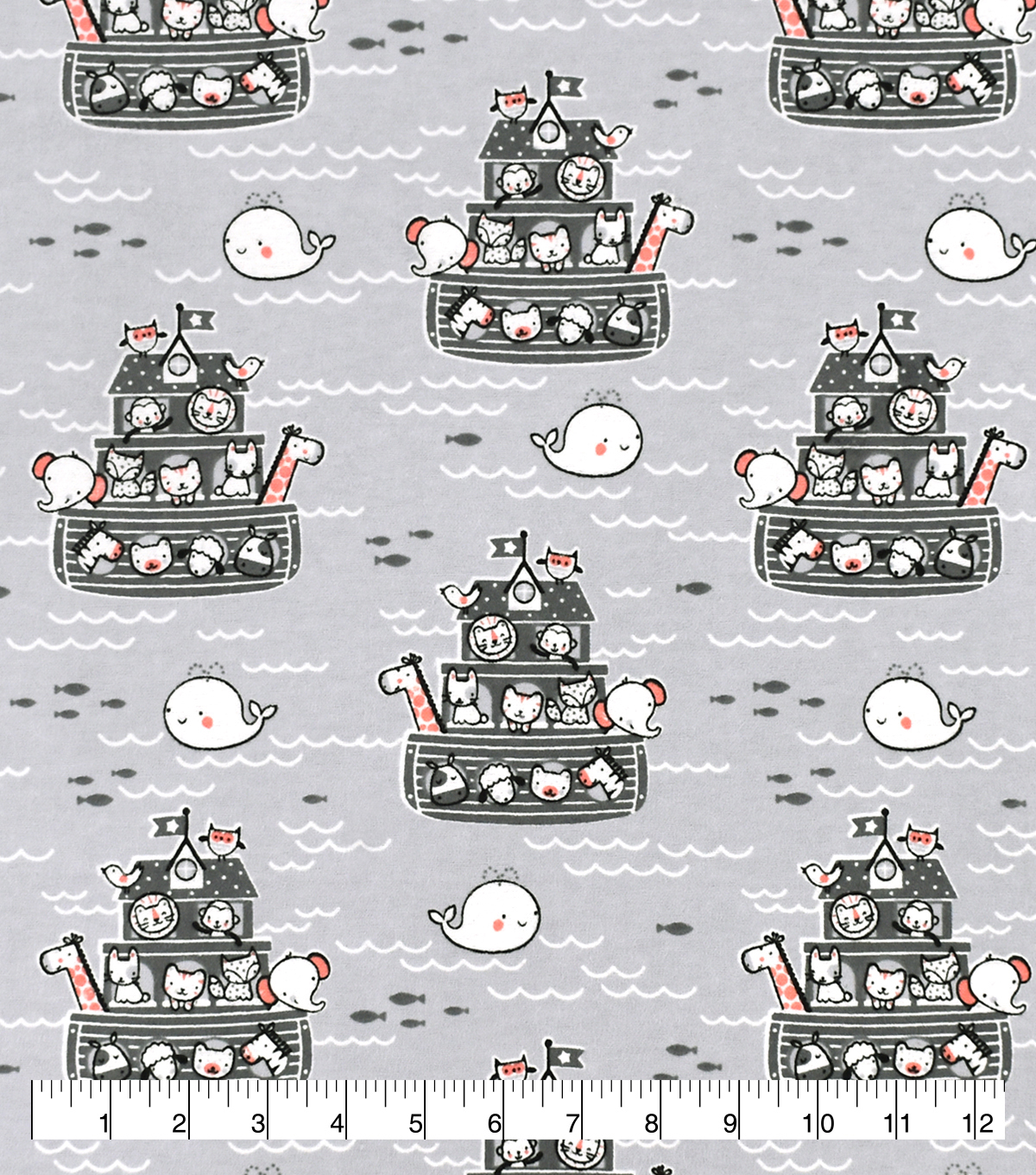 Snuggle Flannel Fabric-Baby Animal Arks on Gray
