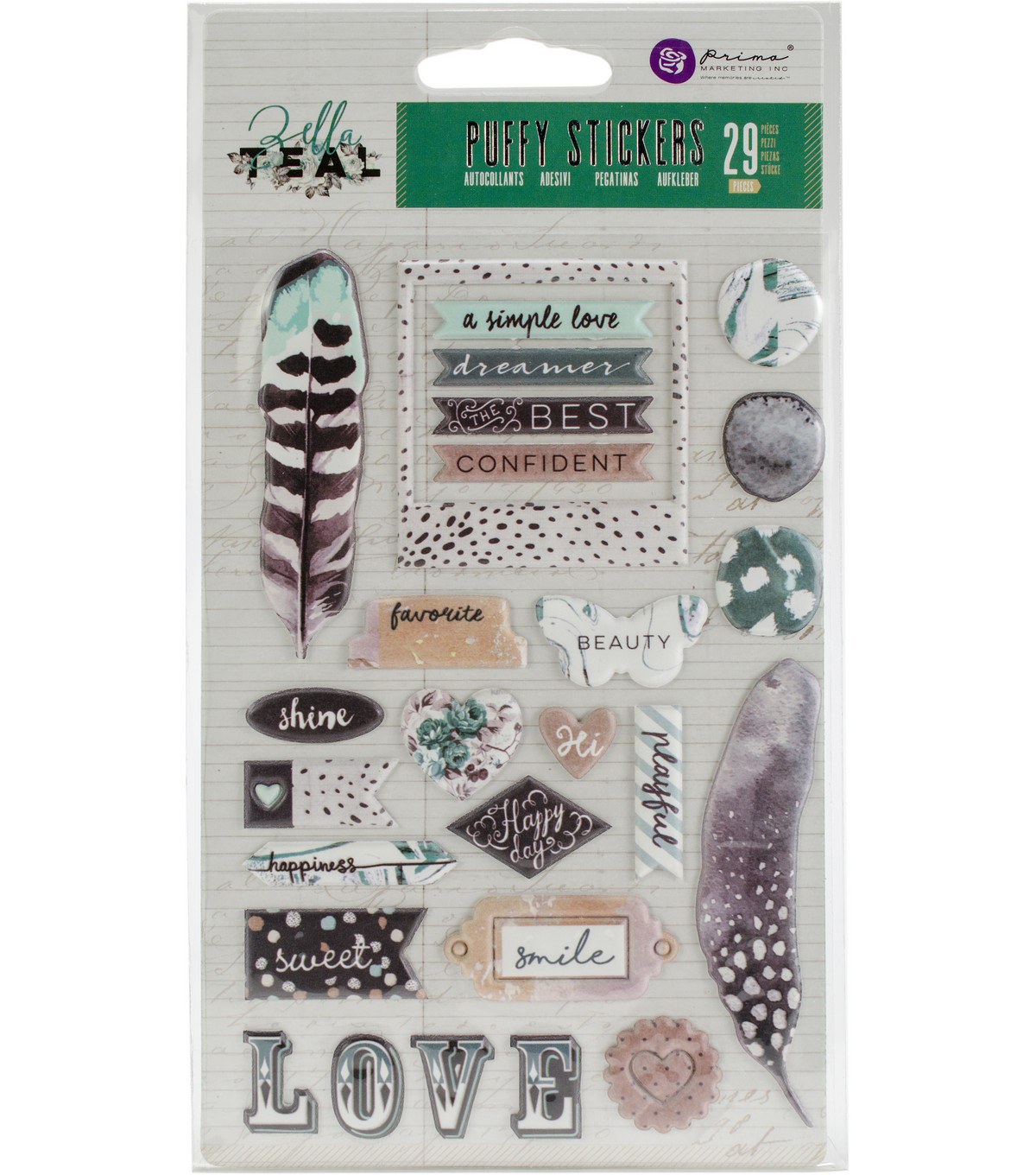 Prima Marketing Zella Teal 29 pk Puffy Stickers