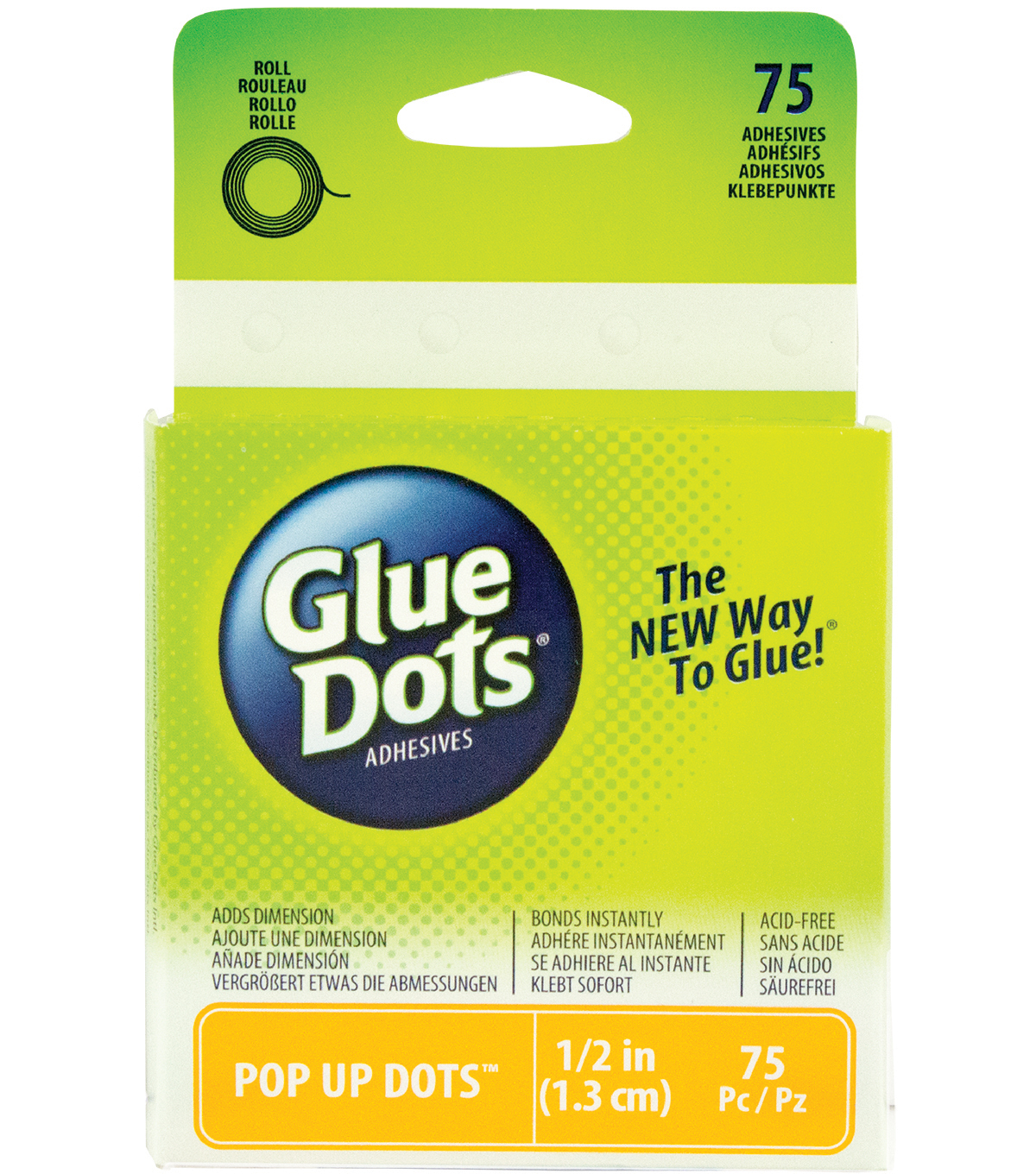 Glue Dots .5\u0022 Pop Up Dot Roll-75 Clear Dots