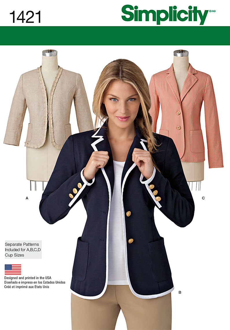 Simplicity Pattern 1421H5 6-8-10-12--Misses Jackets Coats