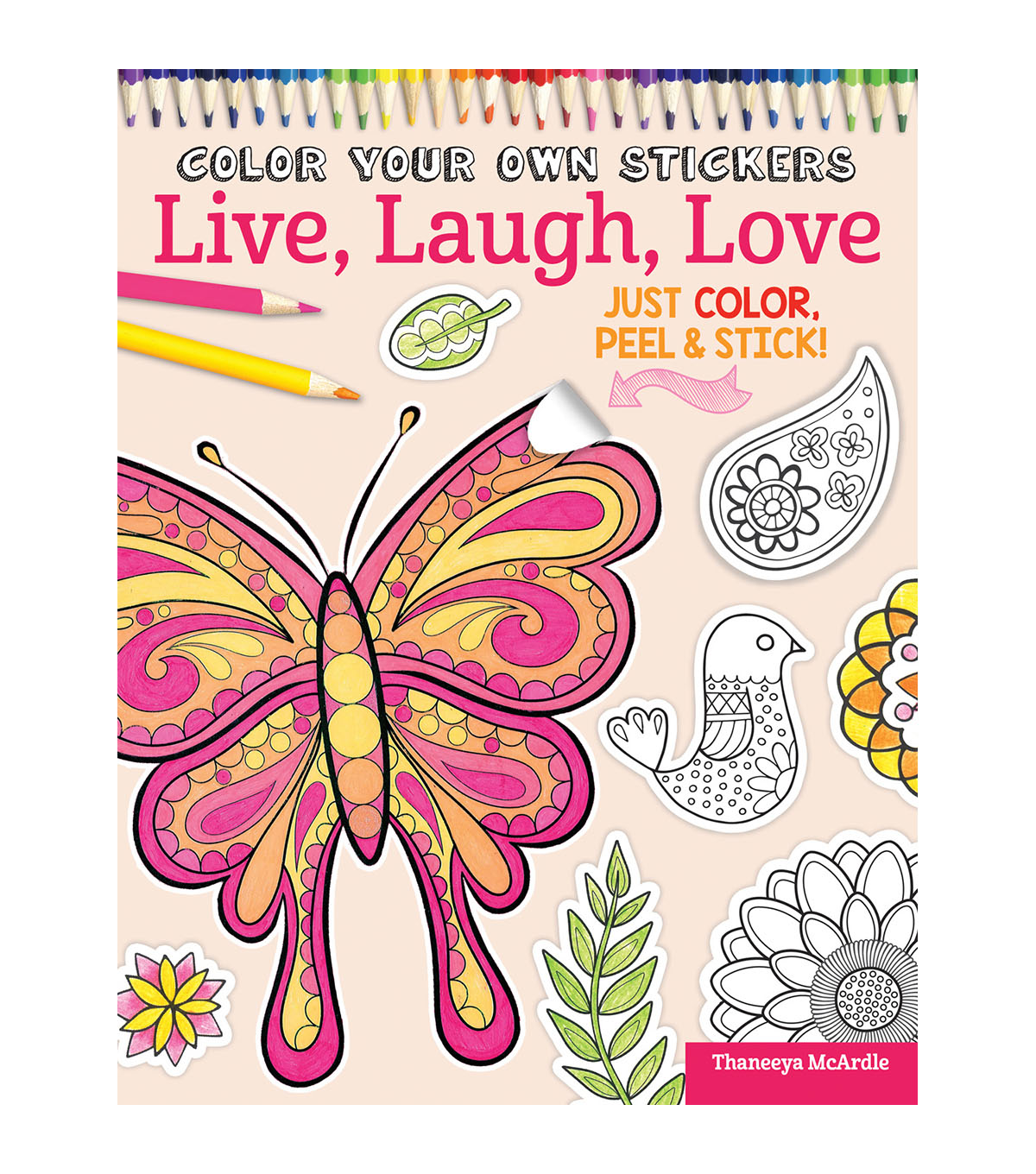 Adult Coloring Book-Design Originals Color Your Own Sticker Live, Laugh, Love