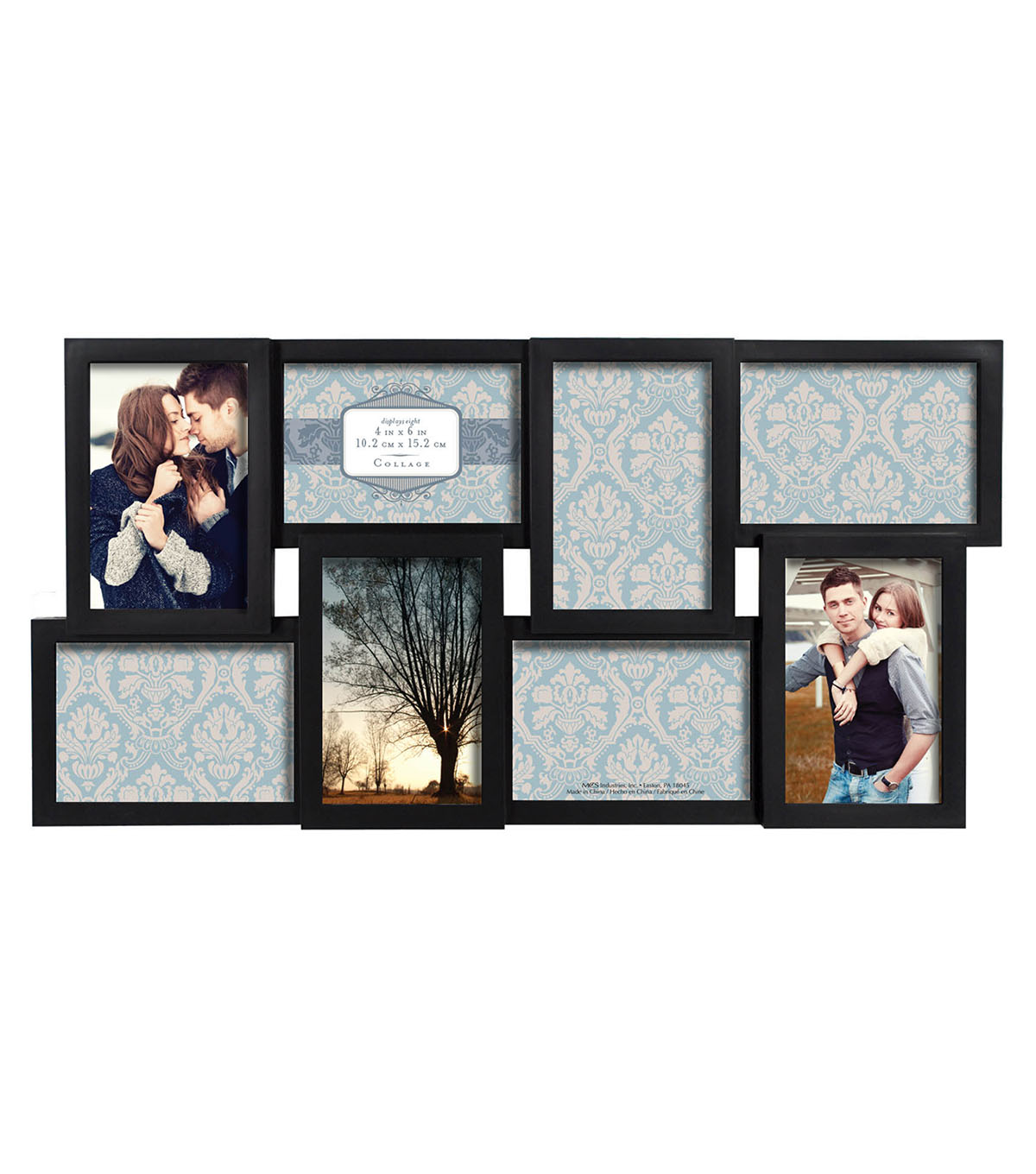 Multi-Opening Collage Frame 8 4X6 Openings-Dimensional Black