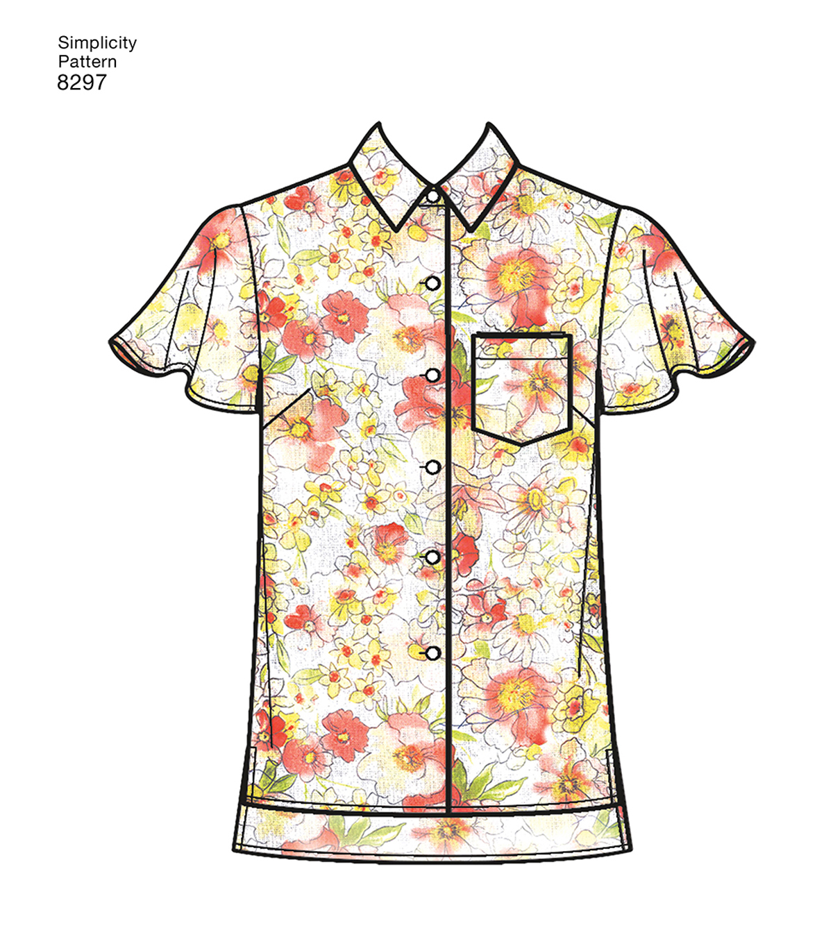 Simplicity Pattern 8297 Misses\u0027 Shirts-Size R5 (14-16-18-20-22)