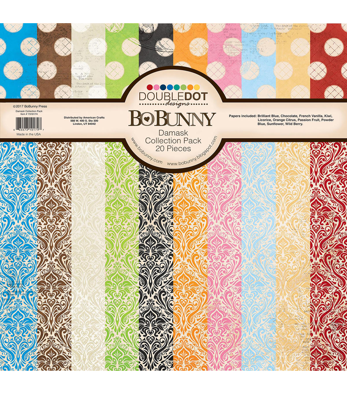 BoBunny Double-Dot 20 pk 12\u0027\u0027x12\u0027\u0027 Double-Sided Cardstock-Damask