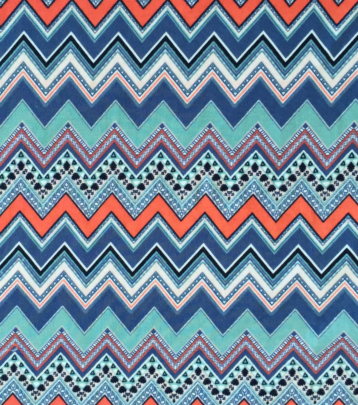 Doodles Collection Fabric -  Majestic Interlock Chevron Blue
